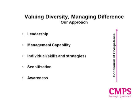 Valuing Diversity, Managing Difference Our Approach Leadership Management Capability Individual (skills and strategies) Sensitisation Awareness Continuum.