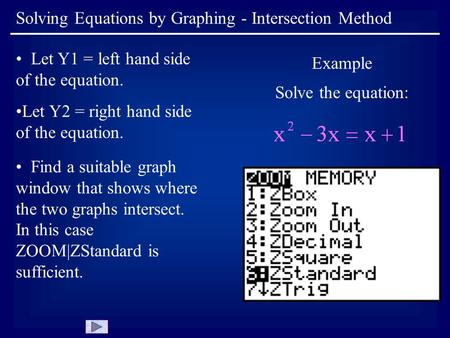 Solving Equations by Graphing - Intersection Method Let Y1 = left hand side of the equation. Let Y2 = right hand side of the equation. Example Solve the.