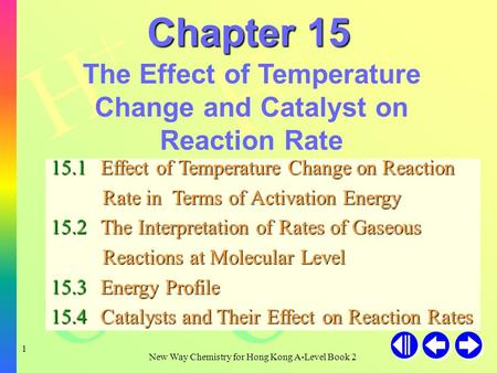 H+H+ H+H+ H+H+ OH - New Way Chemistry for Hong Kong A-Level Book 2 1 Chapter 15 The Effect of Temperature Change and Catalyst on Reaction Rate 15.1Effect.
