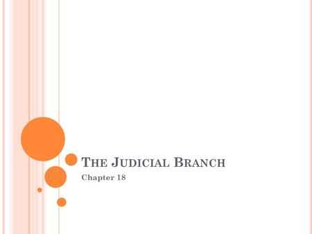 T HE J UDICIAL B RANCH Chapter 18. P ART 3 Inferior Courts.