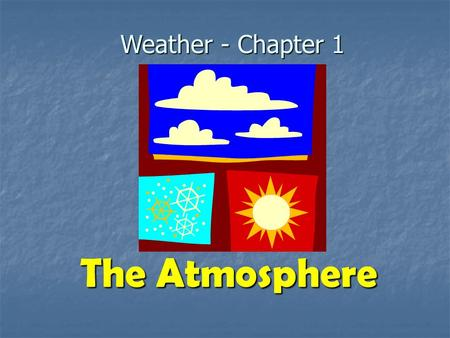 Weather - Chapter 1 The Atmosphere. What is weather? Refers to the state of the atmosphere at a specific time and place. Refers to the state of the atmosphere.