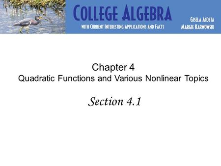 Chapter 4 Quadratic Functions and Various Nonlinear Topics Section 4.1.