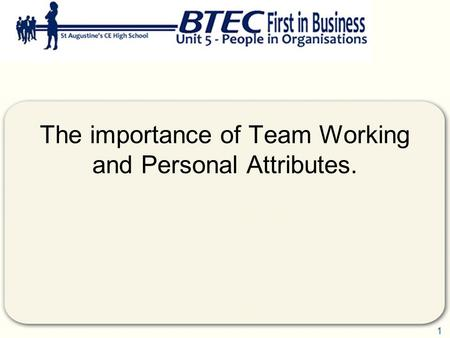 1 The importance of Team Working and Personal Attributes.