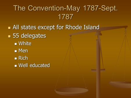 The Convention-May 1787-Sept. 1787 All states except for Rhode Island All states except for Rhode Island 55 delegates 55 delegates White White Men Men.