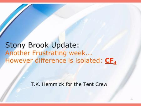 1 Stony Brook Update: Another Frustrating week... However difference is isolated: CF 4 T.K. Hemmick for the Tent Crew.