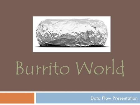 Data Flow Presentation Burrito World. Automated ordering to improve speed and order accuracy Online ordering system for to-go customers The ability to.