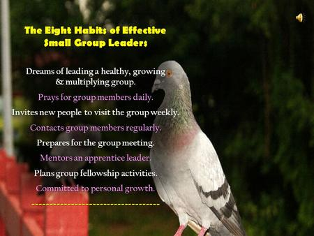 The Eight Habits of Effective Small Group Leaders Dreams of leading a healthy, growing & multiplying group. Prays for group members daily. Invites new.