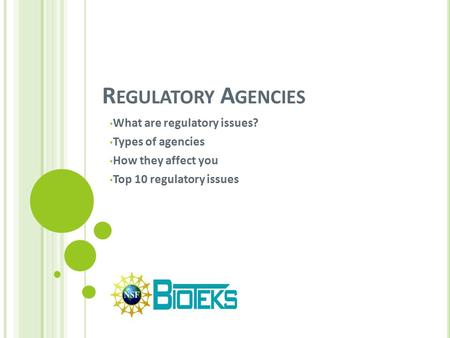 R EGULATORY A GENCIES What are regulatory issues? Types of agencies How they affect you Top 10 regulatory issues.