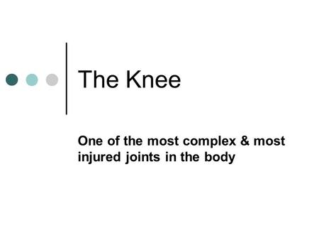 The Knee One of the most complex & most injured joints in the body.