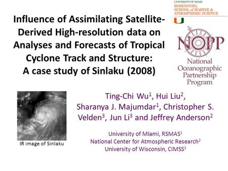 Influence of Assimilating Satellite- Derived High-resolution data on Analyses and Forecasts of Tropical Cyclone Track and Structure: A case study of Sinlaku.