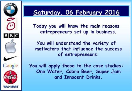 Saturday, 06 February 2016 Today you will know the main reasons entrepreneurs set up in business. You will understand the variety of motivators that influence.