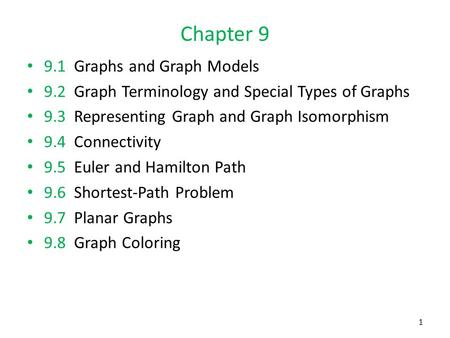 Chapter 9 9.1 Graphs and Graph Models 9.2 Graph Terminology and Special Types of Graphs 9.3 Representing Graph and Graph Isomorphism 9.4 Connectivity 9.5.