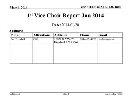 Doc.: IEEE 802.11-14/0318r0 Submission March 2014 Jon Rosdahl (CSR)Slide 1 1 st Vice Chair Report Jan 2014 Date: 2014-01-20 Authors: