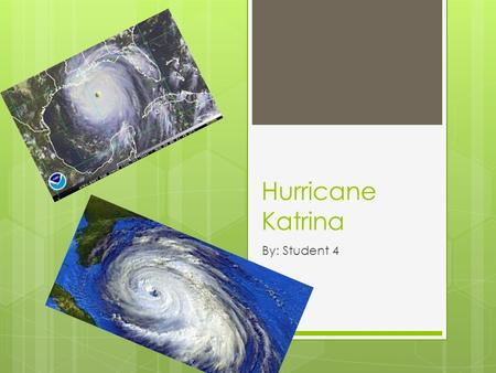 Hurricane Katrina By: Student 4. What is a hurricane?  A hurricane is a huge storm! It can be up to 600 miles across and have strong winds spiraling.