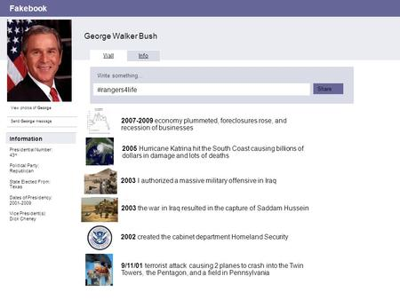 Fakebook George Walker Bush View photos of George Send George message Wall Info #rangers4life Write something… Share Information Presidential Number: 43.