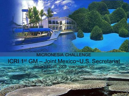 MICRONESIA CHALLENGE ICRI 1 st GM – Joint Mexico~U.S. Secretariat January 22~25, 2008 Washington, DC Fabian B. Iyar, CEO-PICRC.