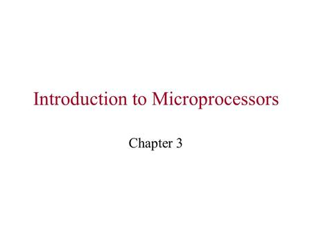 Introduction to Microprocessors Chapter 3. Programming Model (8086)  Shows the various internal registers that are accessible to the programmer.