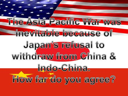 Threats to peace in Asia Pacific Region  Rise of Facist Japan  Failure to Re-establish peace after WWl  Japan's foreign policy aims between 1931-1941.