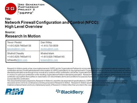 Title: Network Firewall Configuration and Control (NFCC): High Level Overview Trevor Plestid +1-613-829-7465x4138 Dan Willey +1-415-730-0839.