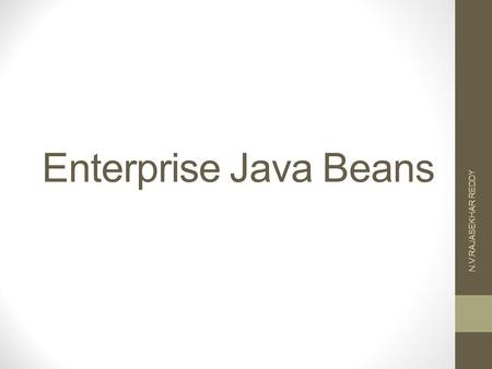 Enterprise Java Beans N.V.RAJASEKHAR REDDY. Definition of EJB EJBs are the components that are the set of classes and interfaces deployed within a container.