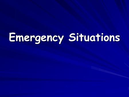 Emergency Situations. What is the best procedure to follow in the event one of the following driving emergencies happens to you?