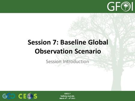 Session Introduction Session 7: Baseline Global Observation Scenario SDCG-7 Sydney, Australia March 4 th – 6 th 2015.