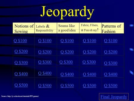 Jeopardy Notions of Sewing Labels & Responsibility Seams like a good idea Fabric, Fibers, & Fun oh my ! Patterns of Fashion Q $100 Q $200 Q $300 Q $400.