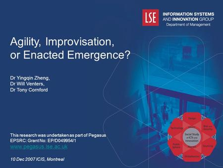 Www.pegasus.lse.ac.uk Agility, Improvisation, or Enacted Emergence? Dr Yingqin Zheng, Dr Will Venters, Dr Tony Cornford This research was undertaken as.