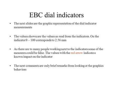 EBC dial indicators The next slides are the graphic representation of the dial indicator measurements The values shown are the values as read from the.