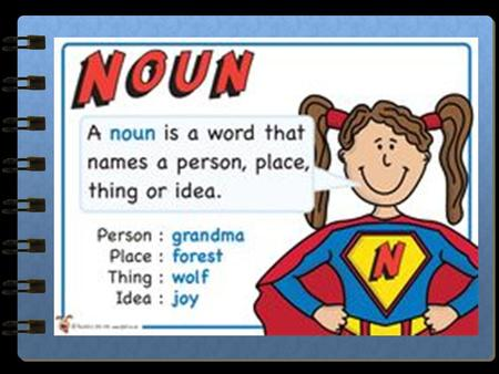 "Nouns A noun is a person, place, thing, or idea. A noun is often ""clued"" by the words ""an"" ""a"" and ""the."" An ape on the bike hit a bird with a rock at."