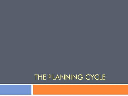 THE PLANNING CYCLE. The Planning Cycle ObservationsQuestionPlanAct/DoReflect Context.