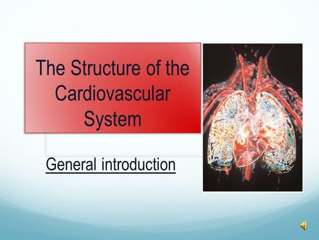 The Structure of the Cardiovascular System General introduction.