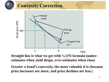 1 Convexity Correction Straight line is what we get with %ΔPB formula (under- estimates when yield drops, over-estimates when rises) Greater a bond's convexity,