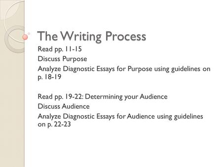 The Writing Process Read pp. 11-15 Discuss Purpose Analyze Diagnostic Essays for Purpose using guidelines on p. 18-19 Read pp. 19-22: Determining your.