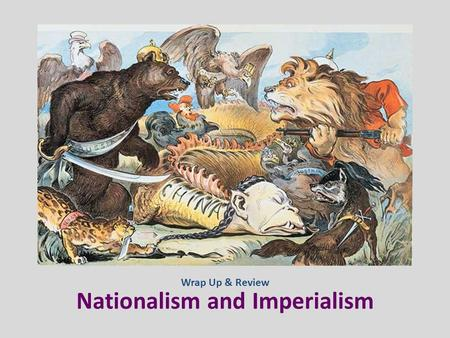 Nationalism and Imperialism Wrap Up & Review. DEFINE. A feeling of loyalty for one's own land and people; the belief that one's nation is superior to.