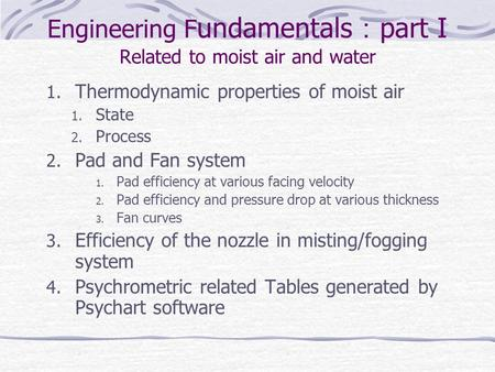 Engineering Fundamentals:part I Related to moist air and water