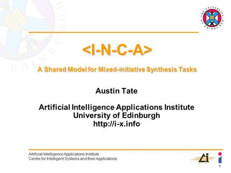 1 Artificial Intelligence Applications Institute Centre for Intelligent Systems and their Applications A Shared Model for Mixed-initiative Synthesis Tasks.