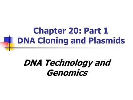 Chapter 20: Part 1 DNA Cloning and Plasmids DNA Technology and Genomics.