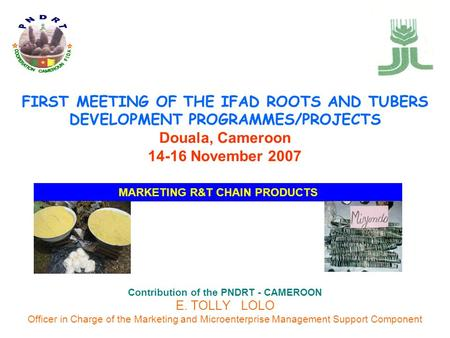 FIRST MEETING OF THE IFAD ROOTS AND TUBERS DEVELOPMENT PROGRAMMES/PROJECTS Douala, Cameroon 14-16 November 2007 Contribution of the PNDRT - CAMEROON E.