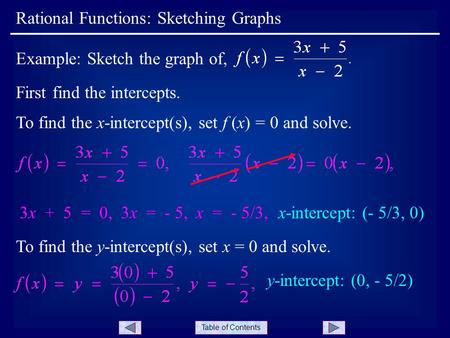Table of Contents Rational Functions: Sketching Graphs Example: Sketch the graph of, First find the intercepts. To find the x-intercept(s), set f (x) =