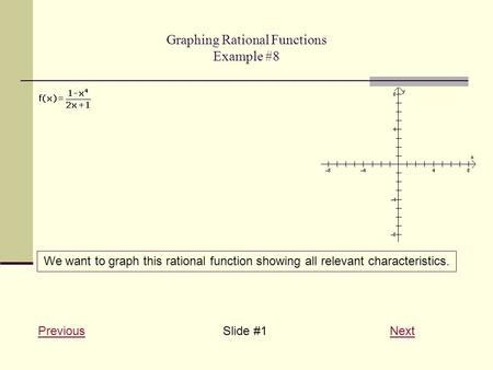 Graphing Rational Functions Example #8 PreviousPreviousSlide #1 NextNext We want to graph this rational function showing all relevant characteristics.