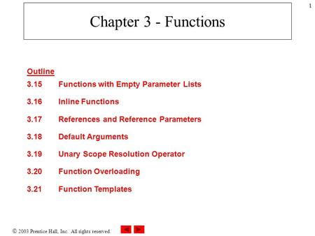  2003 Prentice Hall, Inc. All rights reserved. 1 Chapter 3 - Functions Outline 3.15Functions with Empty Parameter Lists 3.16Inline Functions 3.17References.