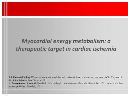 Myocardial energy metabolism: a therapeutic target in cardiac ischemia