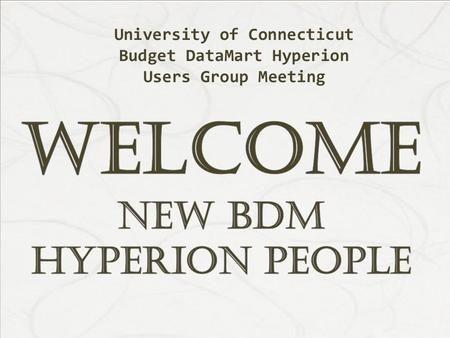 University of Connecticut Budget DataMart Hyperion Users Group Meeting.