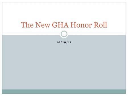 10/19/11 The New GHA Honor Roll. Content Why change the Honor Roll? Changes to the GHA Honor Roll Methodology 1 st Quarter 2011 GHA Honor Roll Questions.