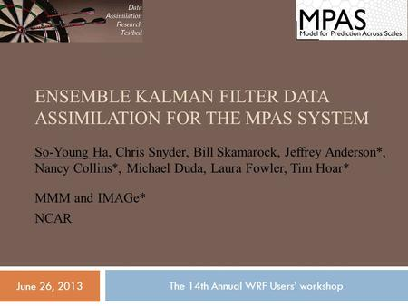 ENSEMBLE KALMAN FILTER DATA ASSIMILATION FOR THE MPAS SYSTEM So-Young Ha, Chris Snyder, Bill Skamarock, Jeffrey Anderson*, Nancy Collins*, Michael Duda,