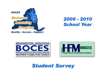 .. SAN-HFM Distance Learning Project Student Survey 2009 – 2010 School Year BOCES Distance Learning Program Quality Access Support.