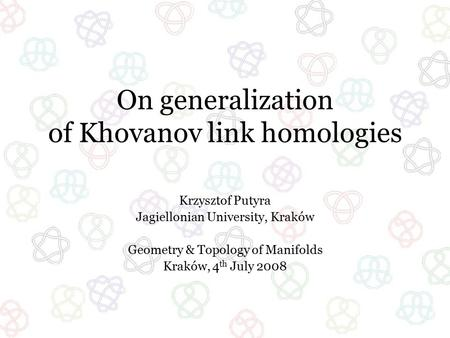 On generalization of Khovanov link homologies