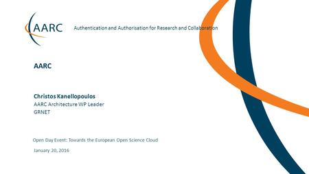 Authentication and Authorisation for Research and Collaboration Christos Kanellopoulos Open Day Event: Towards the European Open.