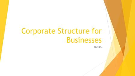 Corporate Structure for Businesses NOTES. Principles of Effective Companies There is a clear reporting relationship for ALL staff The right to make decisions.